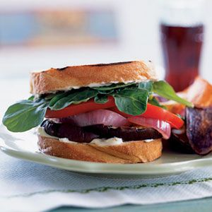 Grilled Eggplant Sandwiches with Red Onion and Aioli Recipe: Myrecipes Com, Eggplants Sandwiches, Red Onions, Sandwiches Recipes, Aioli Recipes, Cooking Lights, Aioli Sauce, Eggplant Sandwich, Grilled Eggplants