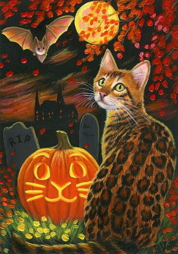 ACEO original bengal cat pumpkin bat moon Halloween painting art