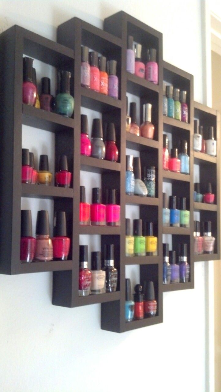 "Wooden nail polish rack..... I need something like this for all my lotions and body sprays {wooden crates broken up/ stained/1/2"" wider shelf line}"