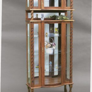 Solid Oak Corner Curio Cabinet