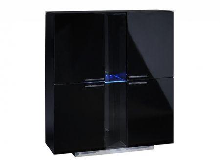 Vertigo Black High Gloss 4 Door Storage Unit | Cabinets from FADS