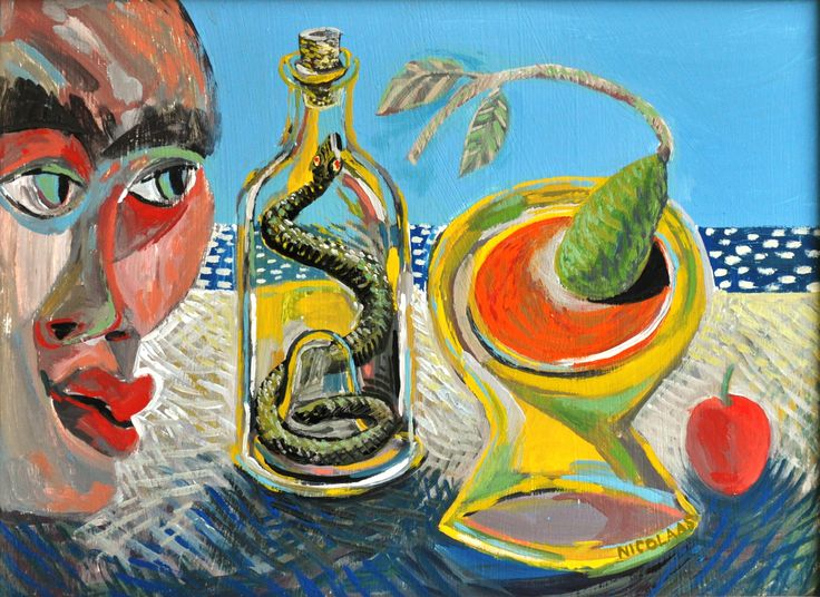 FRUITY SNAKE BOTTLE VIEW, 2004, enamel on board by Nicolaas Maritz