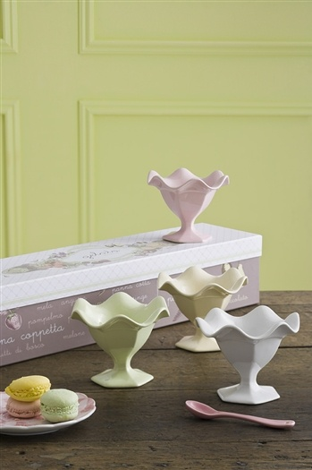 4 Gelato Bowls in White, Butter-Cream, Mint, and Strawberry-Creme Comes Packaged in a Signature Gift Box  Measures 4 in (Height) X 4.75in (Width) and Approximately 4oz  Microwave and Dishwasher Safe