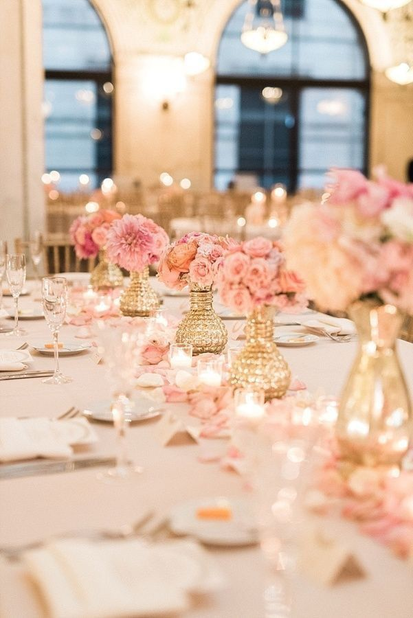 Ivory, pink, and gold centerpiece with rose petals #romantic #wedding #reception #venue #love #quotes #christmas #decor #theme #bride #budget