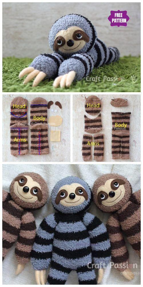 DIY Sock Sloth Free Sew Pattern & Tutorial #Fabric…