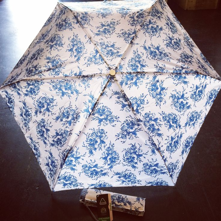 New delph blue mini flat lightweight compact umbrella from Fulton. £12 with wind resistant frame.