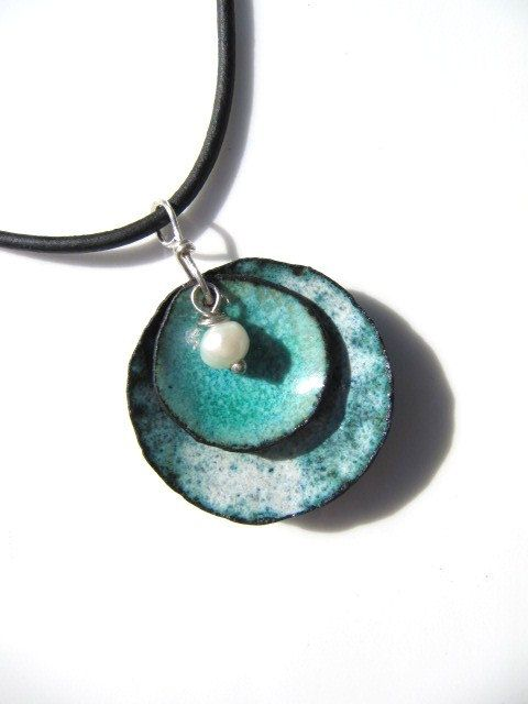 Enamel Jewelry, Enamel on Copper Pendant, Denim and Pearl. $32.00, via Etsy.