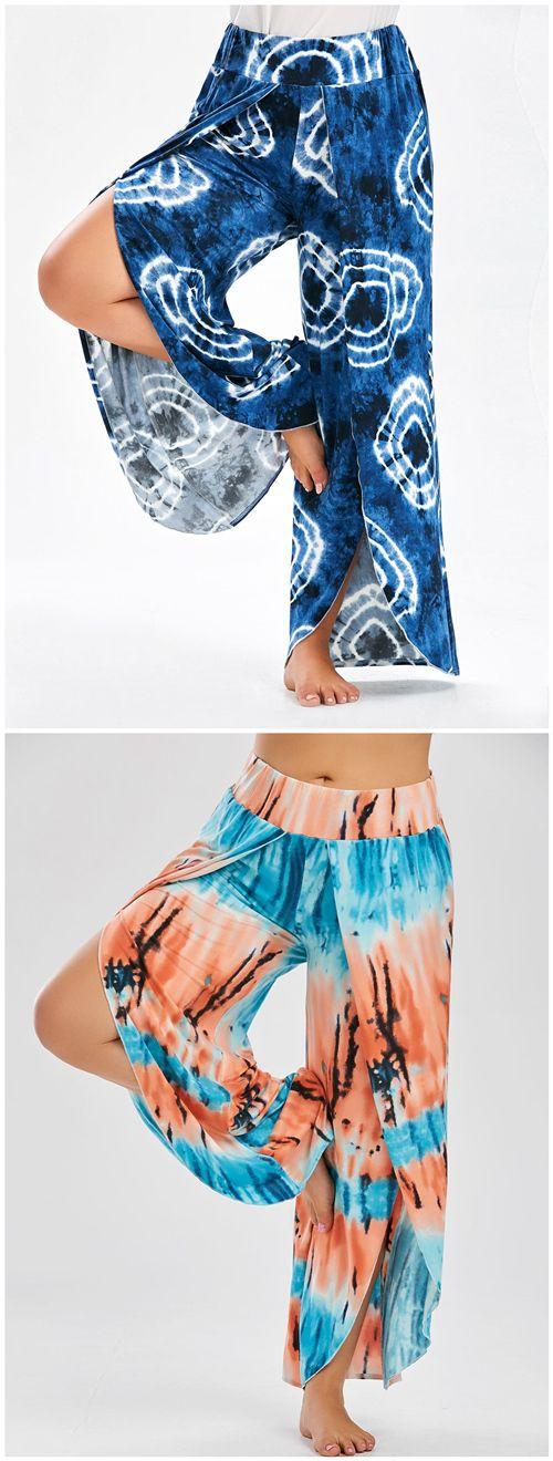 Plus Size Wide Leg High Slit Pants (Leg Workout Outfit)