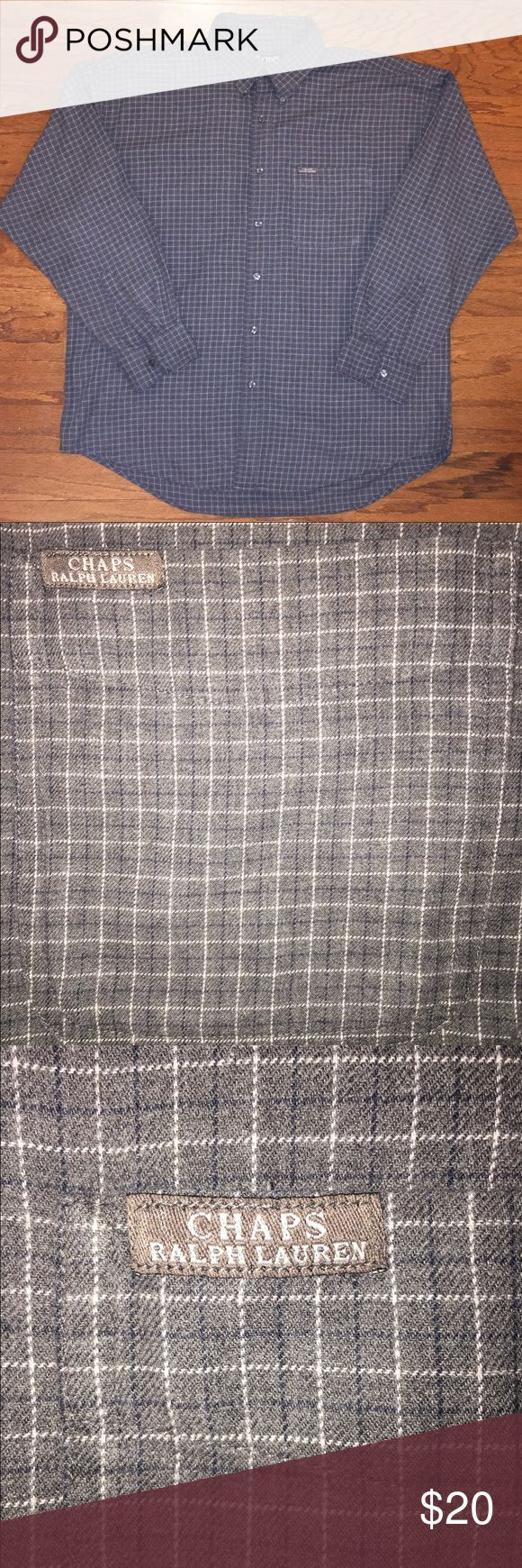 Ralph Lauren Chaps, Plaid Flannel, Long sleeve Rare...Classic, very good condition, gently worn, dark gray, thin blue and white plaid design, soft flannel material, Chaps logo on left front pocket. Ralph Lauren Shirts Casual Button Down Shirts