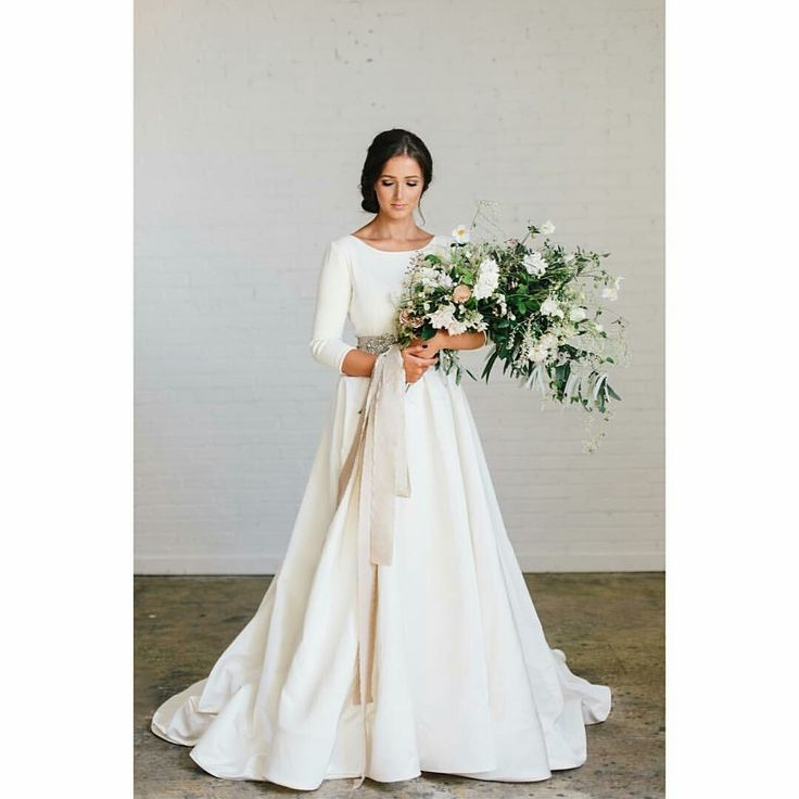 modest wedding dress with three quarter sleeves and a full skirt from alta moda. (modest bridal gowns)