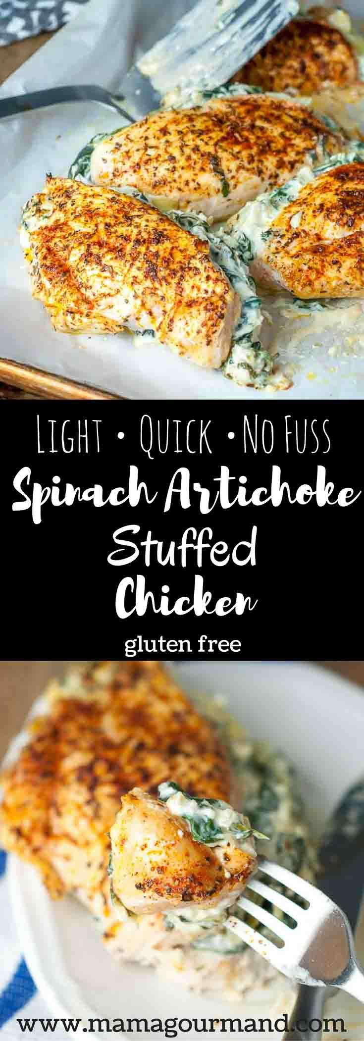 No Fuss Spinach Artichoke Stuffed Chicken combines the best version of classic flavors and rolls it into a light, quick, easy to follow recipe. http://www.mamagourmand.com via @mamagourmand