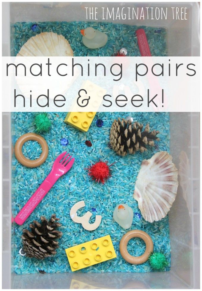 Matching pairs hide and seek sensory tub game for toddlers! from @Anna Totten @ The Imagination Tree