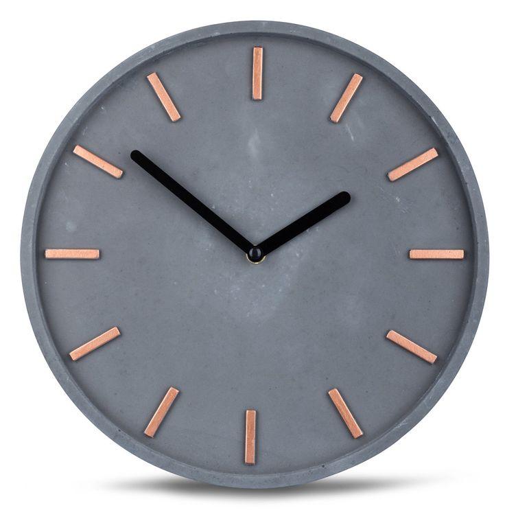 Amazon.de: Hochwertige Beton-Uhr Wanduhr in Grau Kupfer 28cm rund moderne Wanddeko designer Uhr