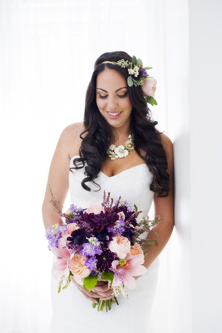 Real Wedding - Chandra & Chris | The Wedding Guru.  Purple and peach bouquet and flower crown.