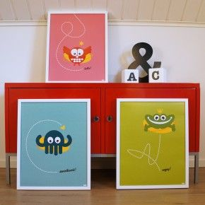 Poster - Uggla, bläckfisk och groda