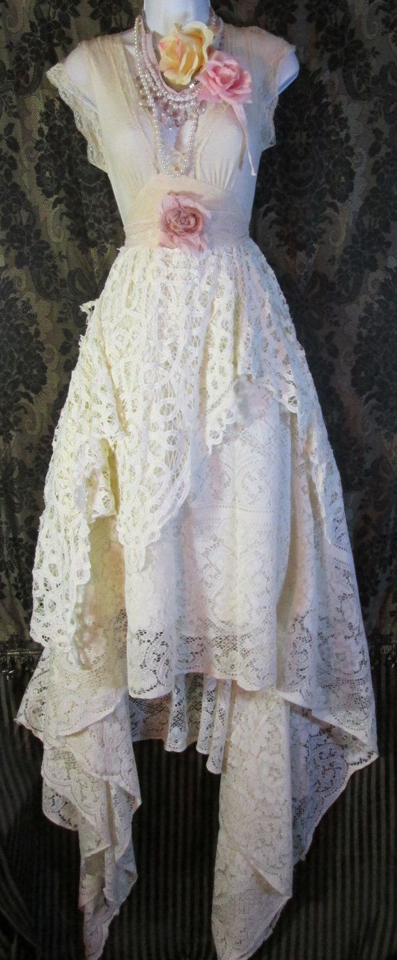 Cream wedding dress antique crochet lace rose  romantic small by vintage opulence on Etsy
