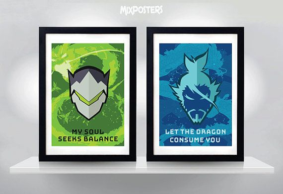 Hey, I found this really awesome Etsy listing at https://www.etsy.com/listing/463964981/genji-hanzo-overwatch-wall-art-print