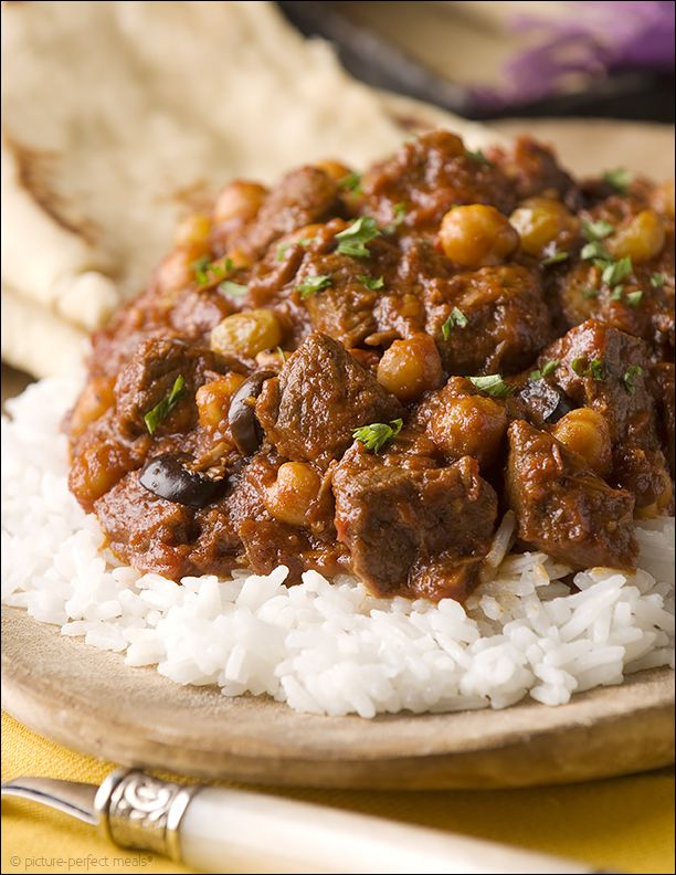 Moroccan Beef Chili ~ braised beef, onions, garlic, spices, chickpeas, beans, tomatoes and more in this delicious chili; serve over rice with Moroccan bread.  Serve and enjoy!