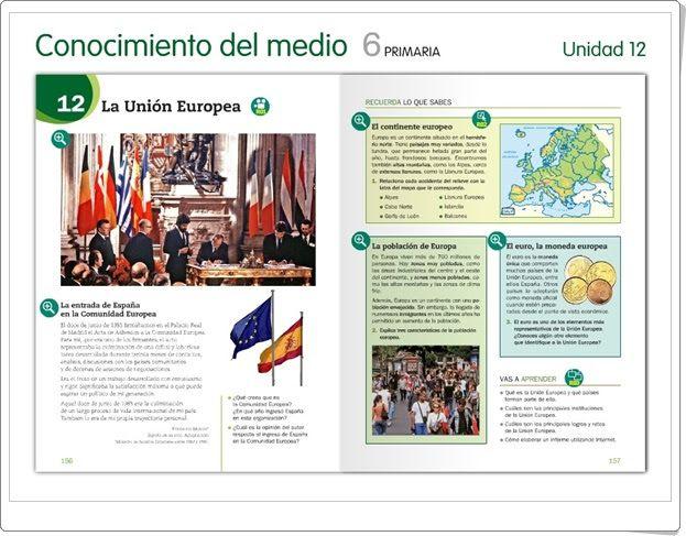 """Unidad 7 de Ciencias Sociales de 6º de Primaria: """"España y la Unión Europea"""""""