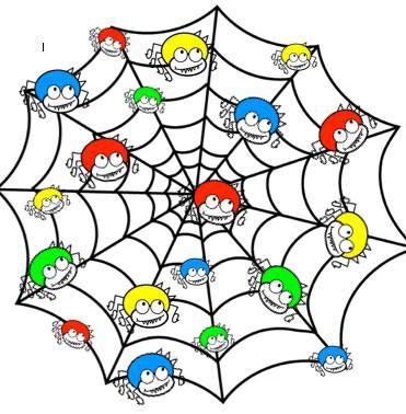 Spinnen : leg pomponnetjes in juiste kleur op een spin