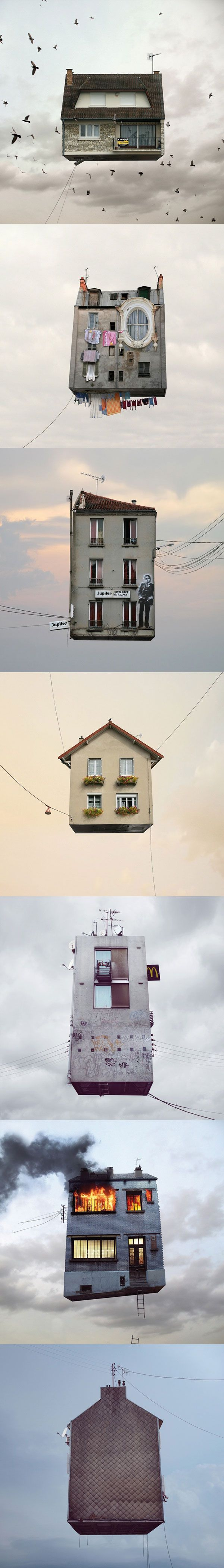 Une très belle série de photomanipulations de Laurent Chechere : « Flying Houses »