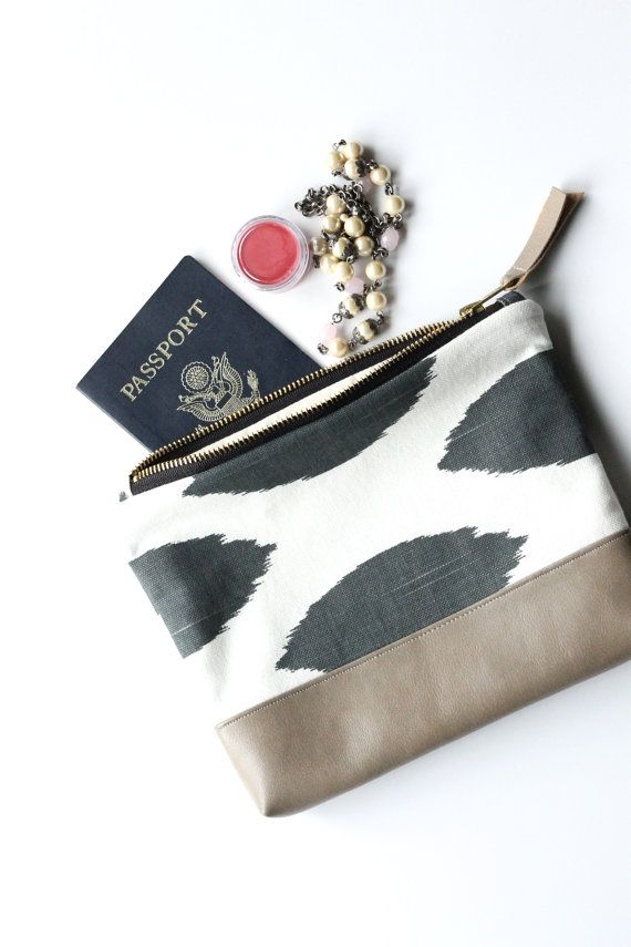 Zipper Clutch Purse with Vegan Leather Black and White Travel Bag