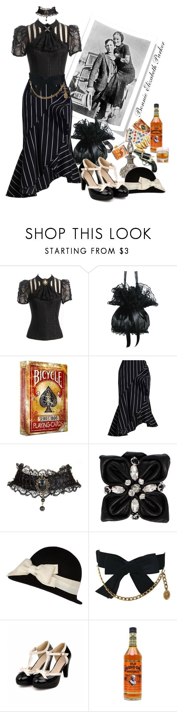 """""""Bonnie Elizabeth Parker"""" by gypsy-jo ❤ liked on Polyvore featuring Bonnie Clyde, Bandolera, Zimmermann, Dsquared2, Steuben, River Island, Chanel and Coffee Shop"""