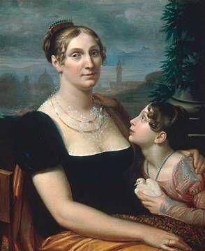 Elisa Baciocchi mit Tochter / Bezzuoli von Giuseppe Bezzuoli / 1814:
