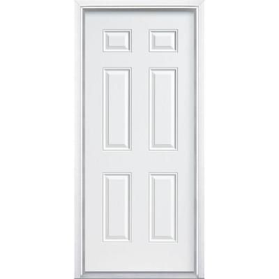 Masonite Utility 6 Panel Primed Steel Entry Door With Brickmold 38455 At The Home Depot 116