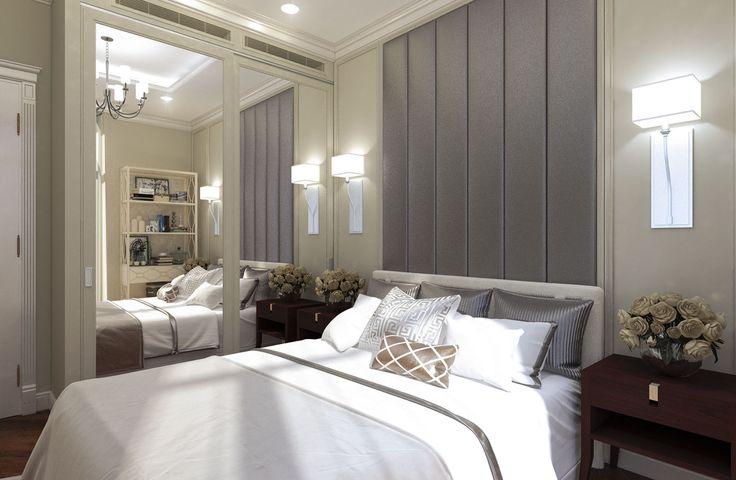Дизайн апартаментов ЖК Balchug Residence. Спальня для гостей 2. Вид 4  #аркси #arxy #дизайнинтерьера #элитныйинтерьер #дизайнквартиры #спальня #дизайнспальни