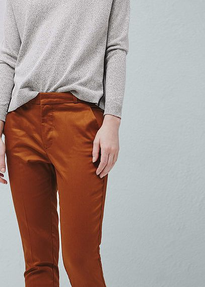 Womens windsor tan straight cotton trousers from Mango - £19.99 at ClothingByColour.com