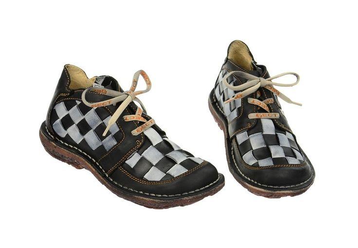 Eject Dunas Schuhe schwarz weiß Echtleder Damenschuhe Karo Muster E-10036 NEU…