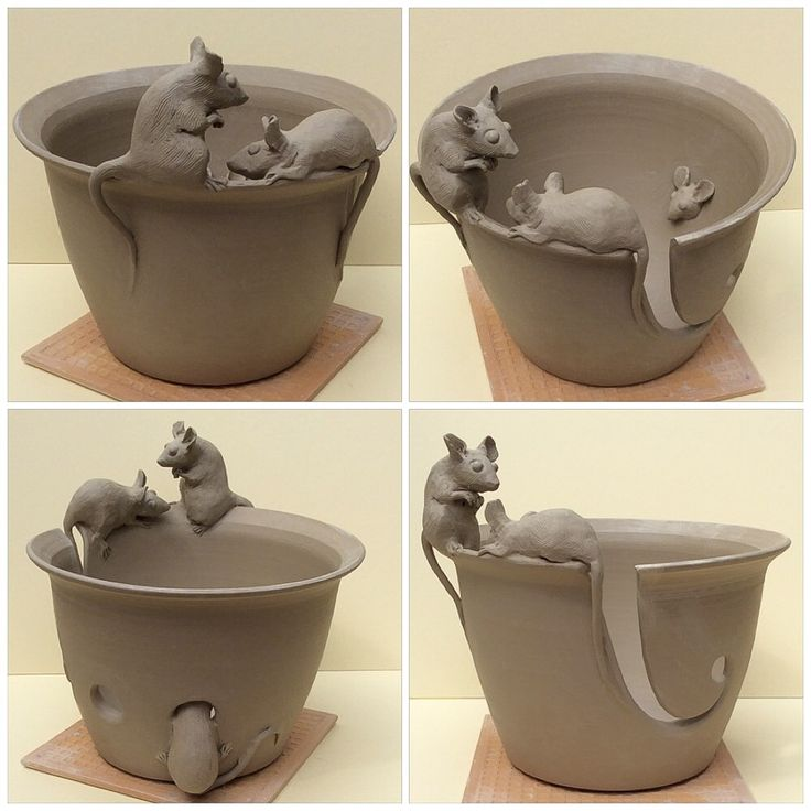 Fresh out of the studio today ..another mice yarn bowl. Unfired white earthenware. This item is a made to order item at earthwoolfire.etsy.com