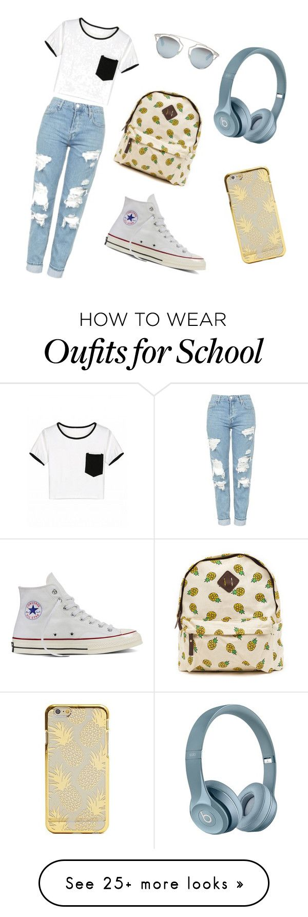 """School style"" by qetevaniioseliani15 on Polyvore featuring Topshop, Converse and Christian Dior"