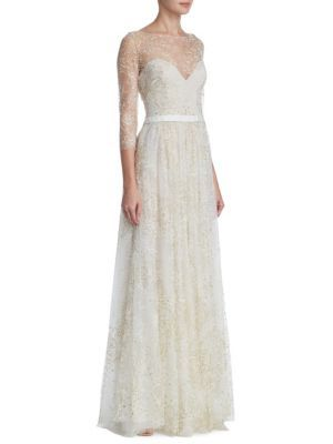 6a253a42 Marchesa Notte - Glitter Tulle Floor-Length Gown #affiliate | Gowns ...