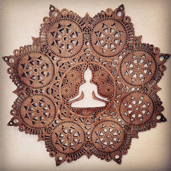 Meditation Mandala Laser geschnitten Holz Kunst Buddha der Leere buddhistischen Kunst Budda Yoga Hinduismus Hindu religiöse