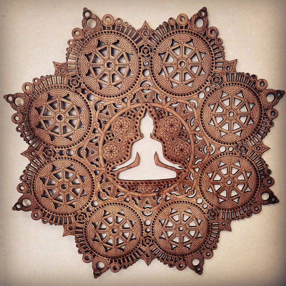 Meditation Mandala Laser Cut Wood Art