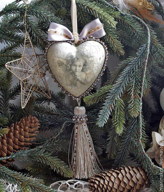 """Купить Сердце интерьерное """"Рождественское"""" - серый, Новый Год, новый год 2015, новогодний подарок:"""