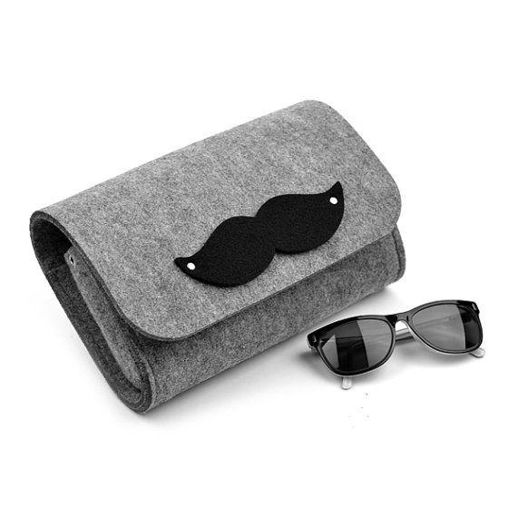 Grey felt bag, MustacheClutch, grey felt, clutch, crossbody bag, medium size, black
