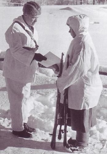 "Simo Häyhä receiving honorary rifle; February 17, 1940. Häyhä got a nick name from Russians: ""The White Death"""
