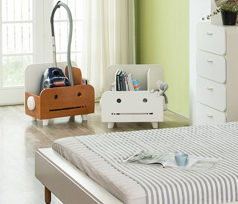 Macaron Pokki (Vacuum cleaner case / Book Rack) - No where to hide your vacuum cleaner? Fret not, Pokki is here for you. Wide enough to house your vacuum cleaner, Pokki is cleverly designed with 2 removable panels to create flexibility of 2 or 3 compartments within as you wish. Good as a book rack for kids too!