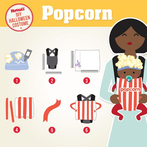 "Follow these simple steps to create a DIY baby popcorn costume and they'll surely get a standing ovation this Halloween! What you'll need: scissors, measuring tape, fabric glue, white & red felt, baby hat, popcorn, baby carrier 1. Glue popcorn to hat 2. Measure the baby carrier and add 2"" 3. Use measurements to make a box out of the white felt 4. Cut red felt into 1"" strips & glue to the white felt 5. With the leftover red felt, cut out a sash 6. Cut a hole in each side and tie the sash…"