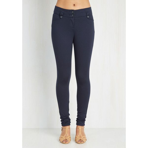 90s Long Skinny Freelance Photographer Pants ($45) ❤ liked on Polyvore featuring pants, dark navy blue pants, skinny fit pants, long pants, skinny ponte pants and navy pants