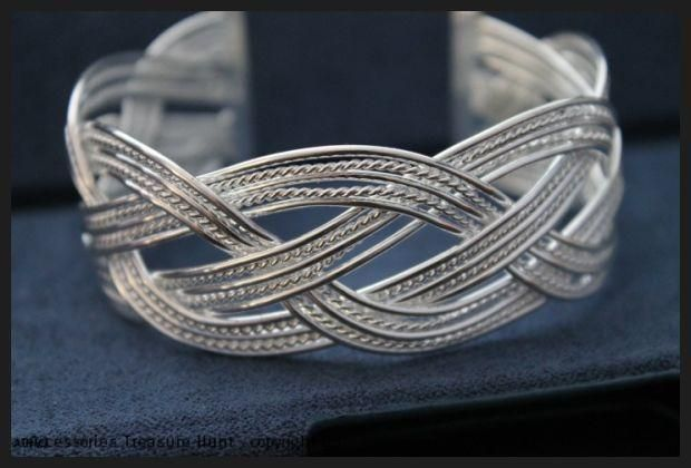 925 Sterling Silver Filled Braided Bangle: