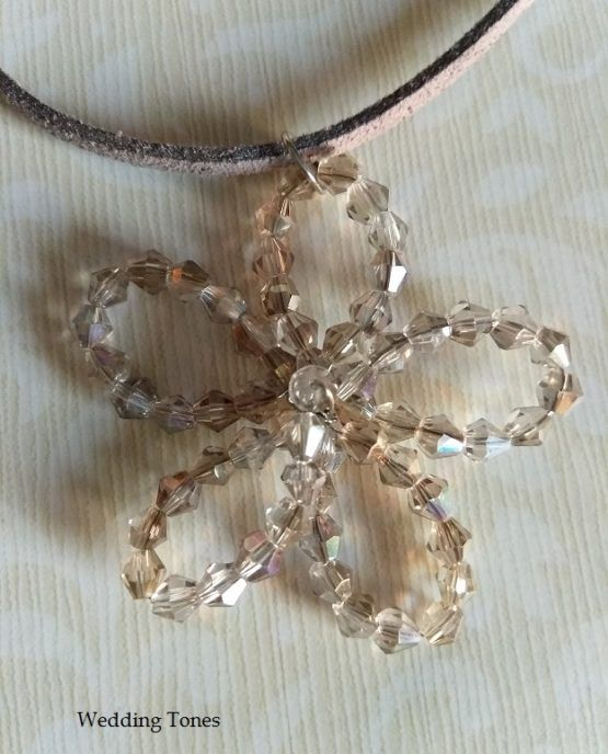 Handmade Flower Crystal Necklace – Ice – Wedding Tones