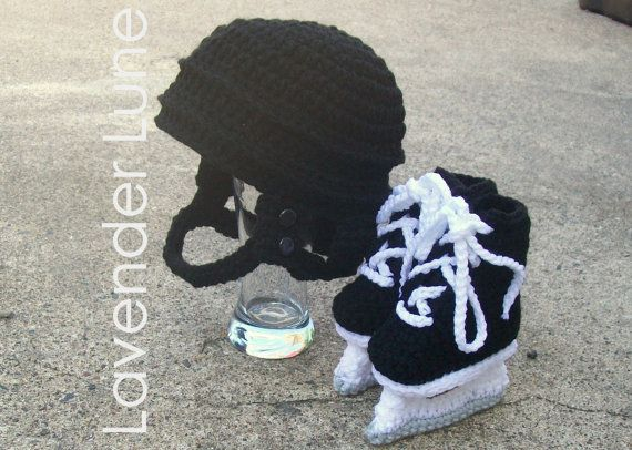 The Pro  Hockey Set Crochet Photo Prop. by lavenderlune on Etsy, $38.95