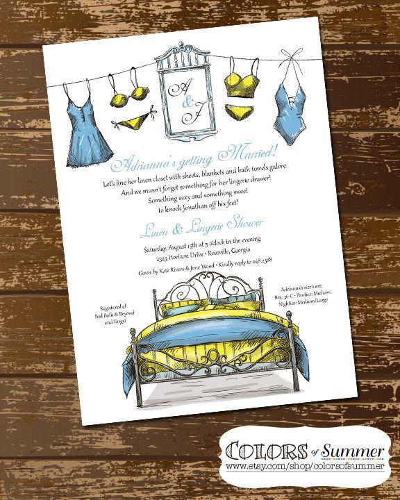 Linen & Lingerie Shower Invitation, Lingerie Shower, Bed and Bath Shower, Intimate Shower, Sketch, Vintage, Bedroom - Digital File by colorsofsummer on Etsy