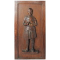 1900s Hand Carved Scotsman Tobacco Store Panel