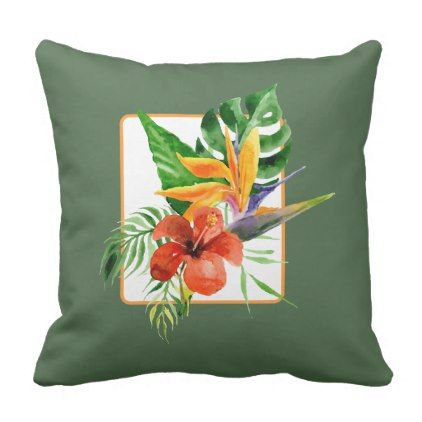 Tropical Floral Bird of Paradise Watercolor Pillow - home gifts ideas decor special unique custom individual customized individualized