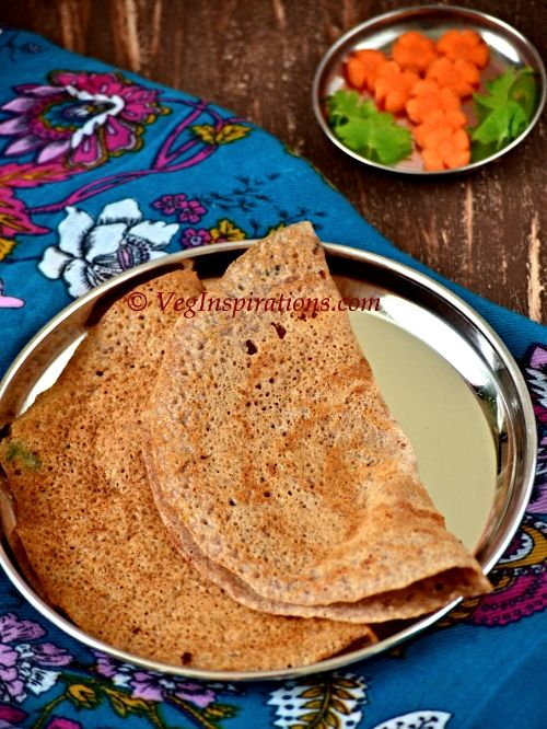 Instant Ragi Oat Dosai ~ Nachani dosa ~ Savory Indian finger millet and oat crepes